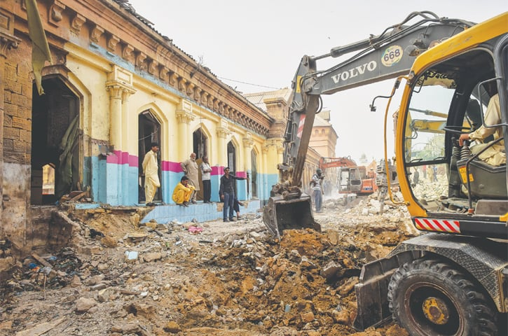 THE area behind the butcher's section at Empress Market lies in rubble after an anti-encroachment operation was carried out earlier this week.—Fahim Siddiqi / White Star