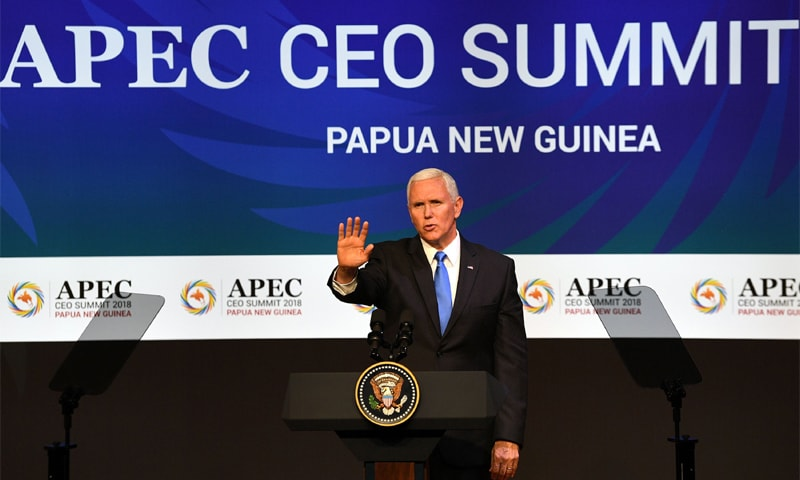 PORT MORESBY (Papua New Guinea): US Vice President Mike Pence delivers his keynote speech at the Asia-Pacific Economic Cooperation summit on Saturday.—AFP