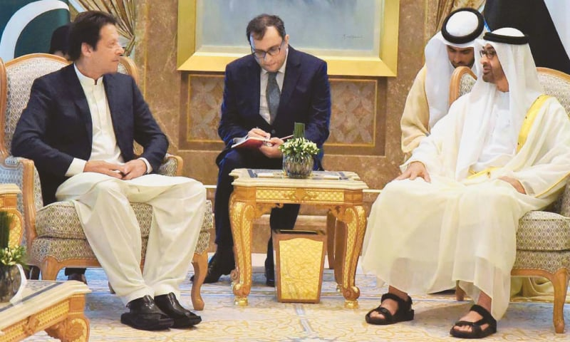 ABU DHABI: Prime Minister Imran Khan meets Sheikh Muhammad bin Zayed Al Nahyan, the Crown Prince of Abu Dhabi and Deputy Supreme Commander of the UAE Armed Forces, at the Presidential Palace.—INP