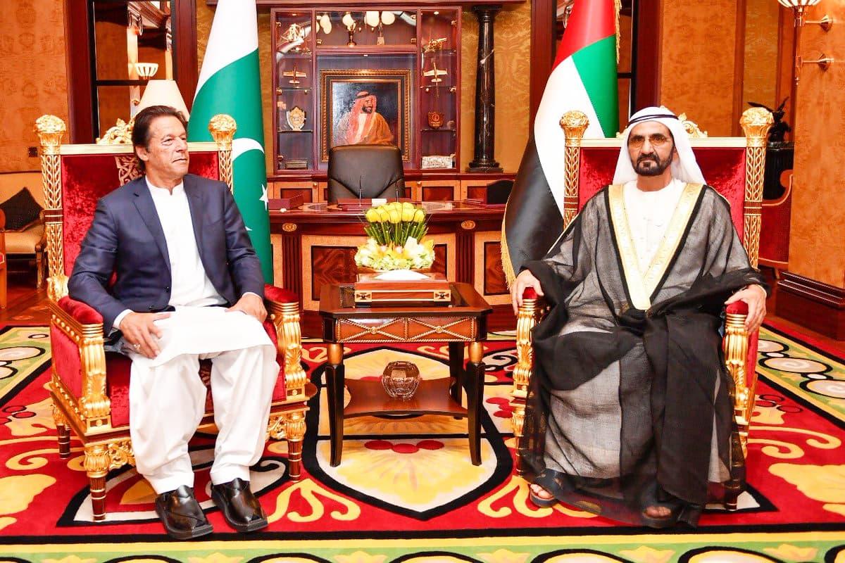 Prime Minister Imran Khan meets Sheikh Mohammad bin Rashid Al Maktoum, Vice President and the Prime Minister of UAE at Zabeel Palace, Dubai. — Photo courtesy His Highness Sheikh Mohammed bin Rashid Al Maktoum's Twitter