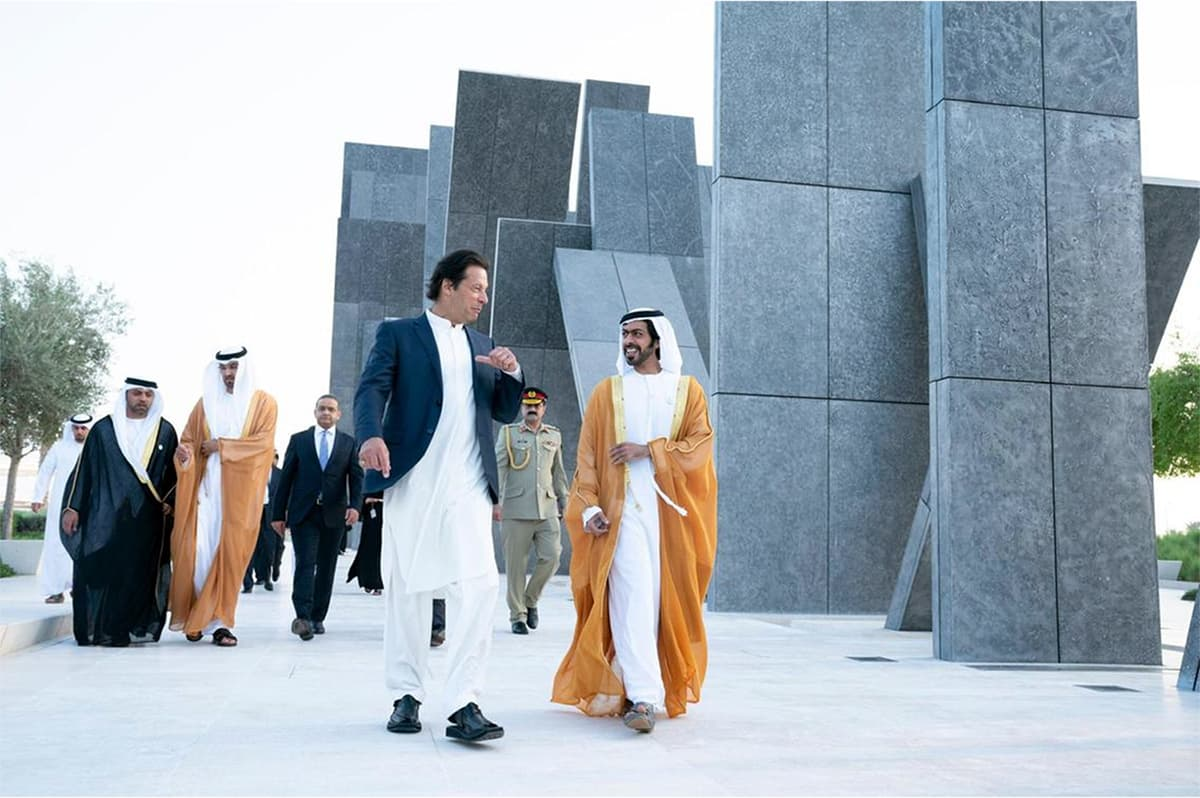 Prime Minister Imran Khan visits Wahat Al Karama (a monument for the country's martyrs) with Sheikh Khalifa bin Tahnoun Al Nahyan, Executive Director of the Martyrs' Families' Affairs Office. PM Khan was accompanied by UAE Minister of State Sultan Al Jaber and UAE's Ambassador to Pakistan Hamad Obaid Al Zaabi. — Photo courtesy The National