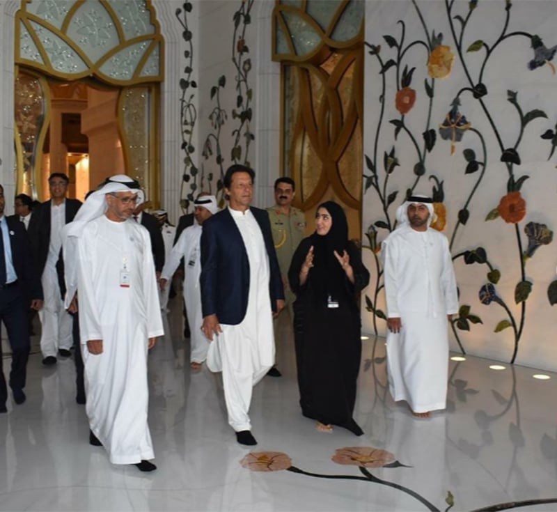 Prime Minister Imran Khan visited the Sheikh Zayed Mosque in Abu Dhabi during his trip to UAE. — Photo courtesy PM Khan's official Instagram