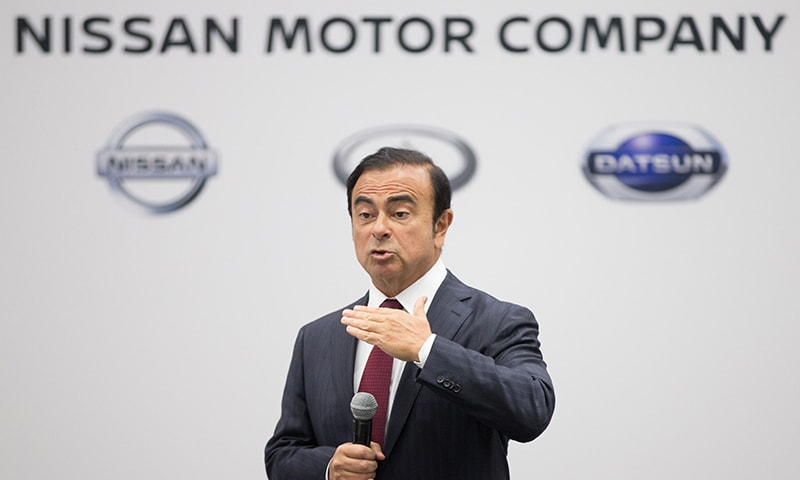 Nissan Chairman, President and CEO Carlos Ghosn speaking to reporters during a press conference at the 2016 North American International Auto Show in Detroit, Michigan. ─ AFP
