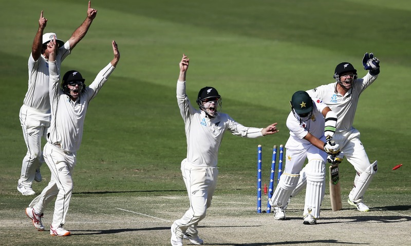 New Zealand players appeal prior to dismissing Azhar Ali and wrapping up the first Test. —AP