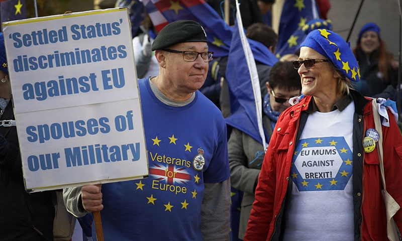 Anti Brexit campaigners demonstrate at Westminster in London on November 19, 2018. —AP