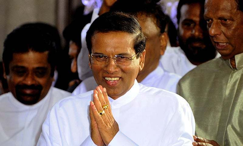 In this 2015 file photo, Sri Lanka's president Maithripala Sirisena gestures after being sworn in at Independence Square in Colombo. — AFP/File photo