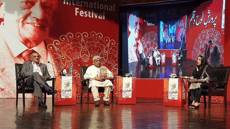 Veteran Indian lyricist Javed Akhtar during a panel discussion at the festival.