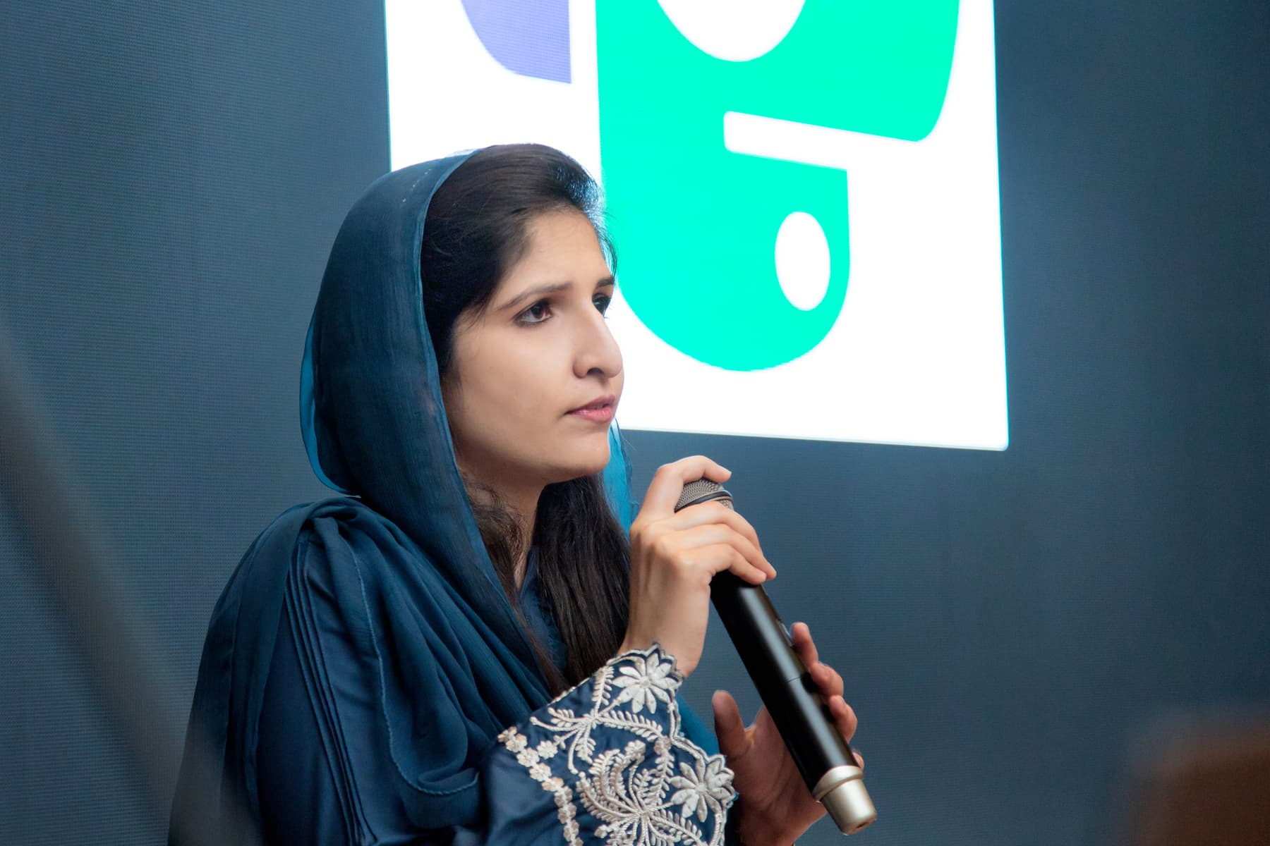 Ayesha Mehmood, member PyCon Pakistan Organising team, opening the first day of conference