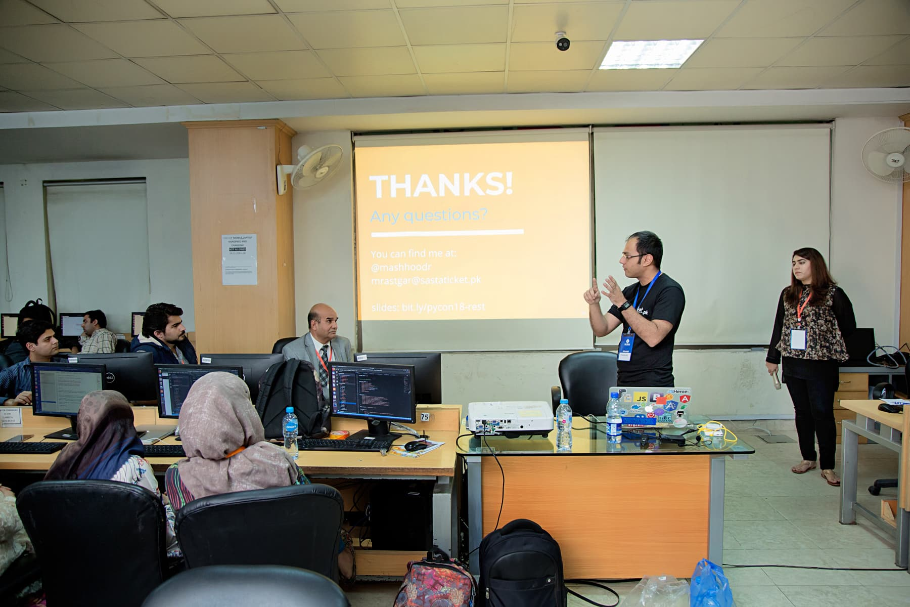 "Mashhood Rastgar, CTO Sastaticket.pk, conducting workshop on ""Building Modern APIs using Django 2.0"