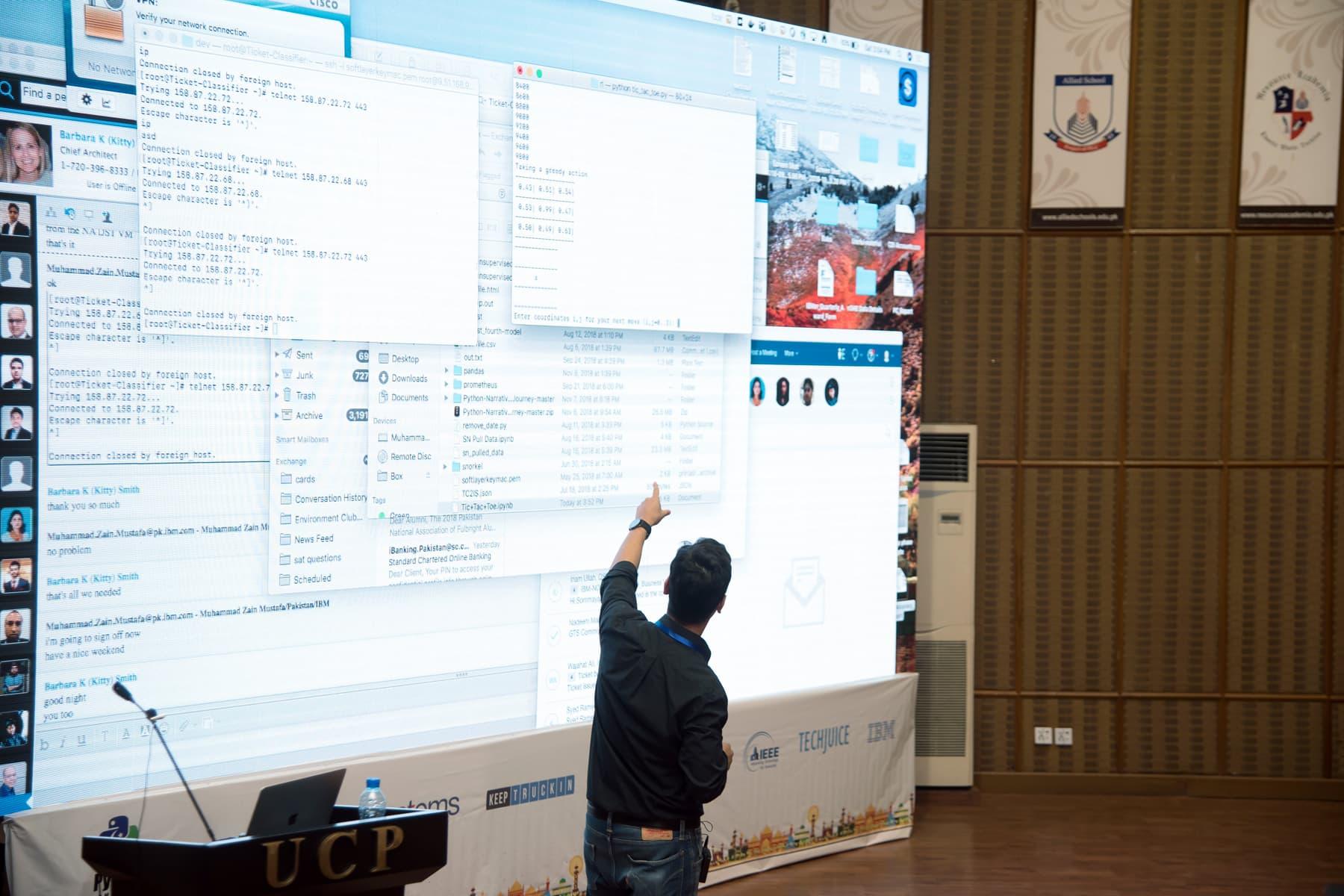 A speaker delivering his talk at PyCon Pakistan 2018