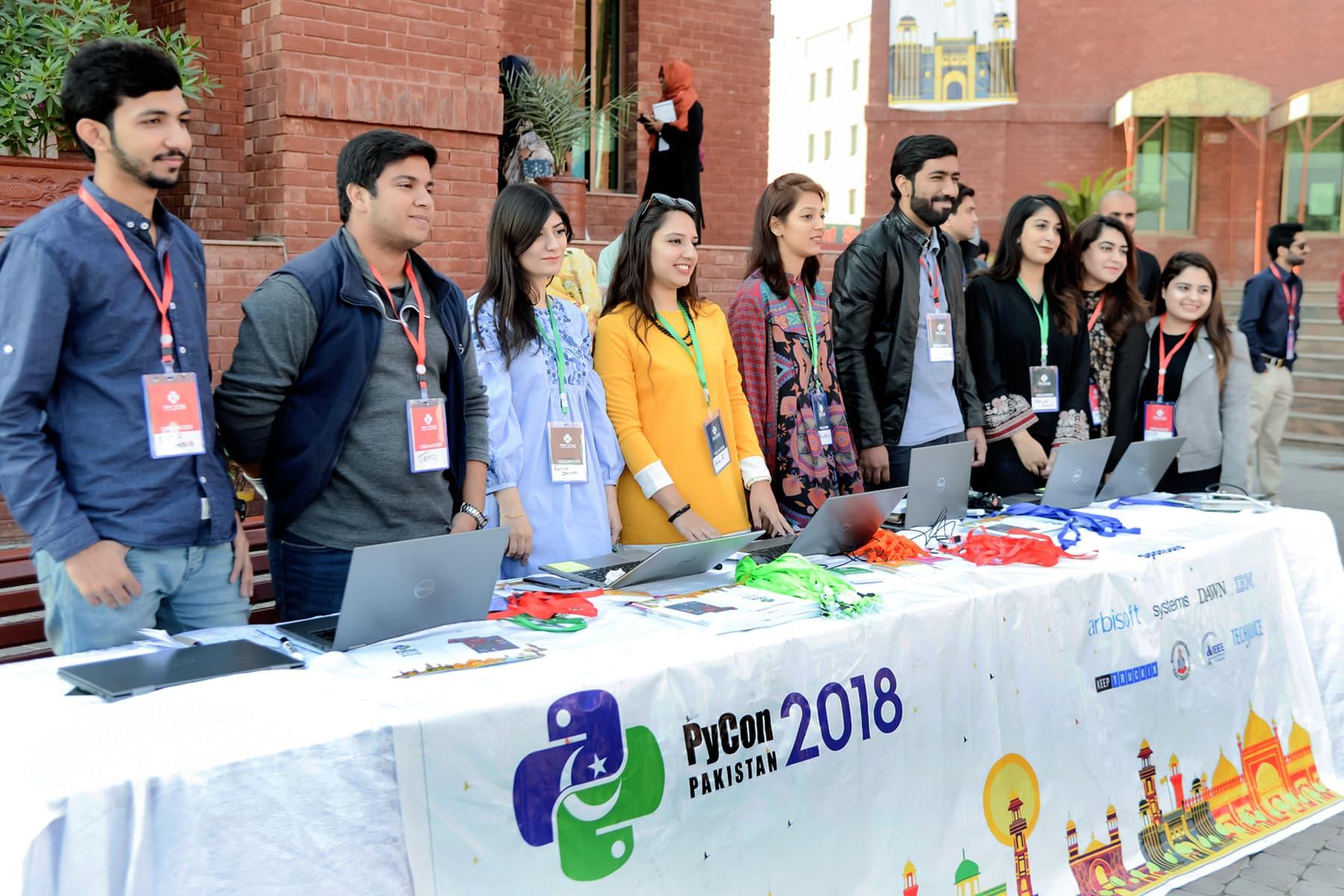 Registration desk at PyCon 2018