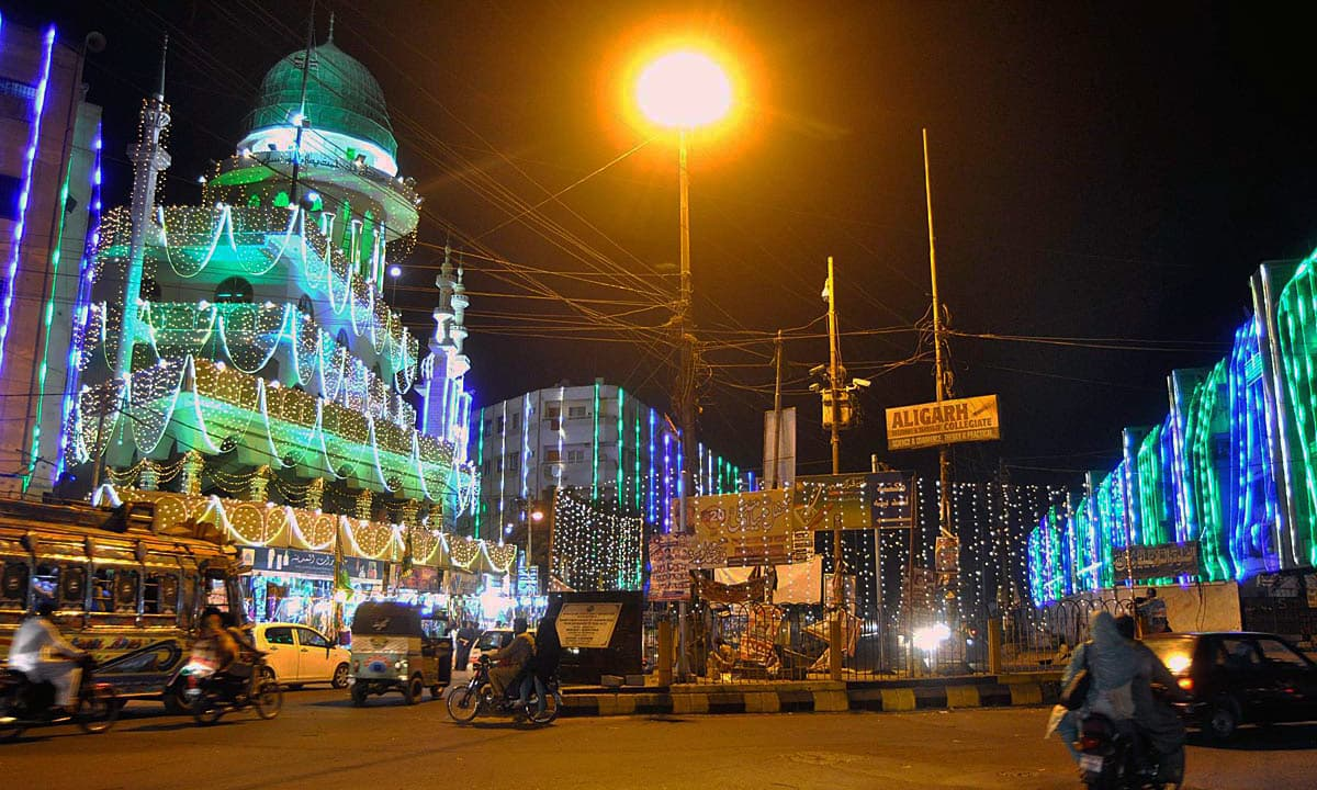 An illuminated view of a Kanzul Iman Masjid in Karachi decorated with colourful lights. —APP