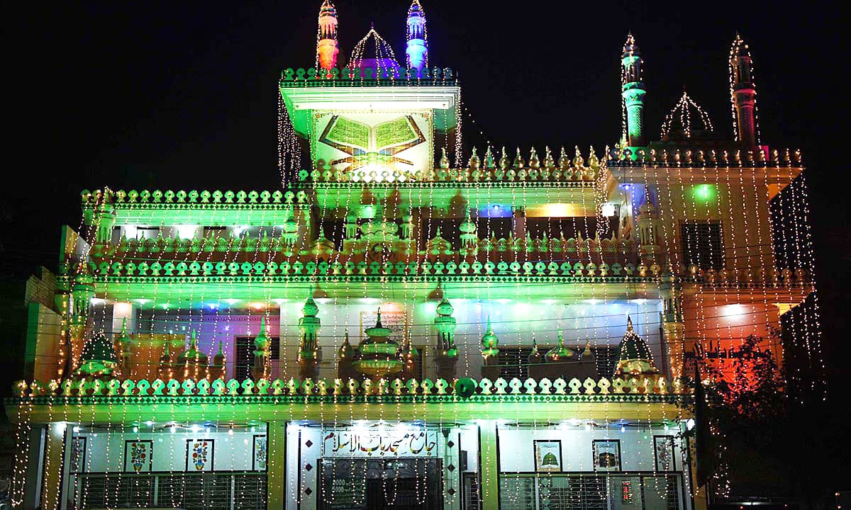 Jamia Masjid Babul Islam in Lahore decorated with colorful lights in connection with Eid-i-Miladun Nabi celebrations. —APP