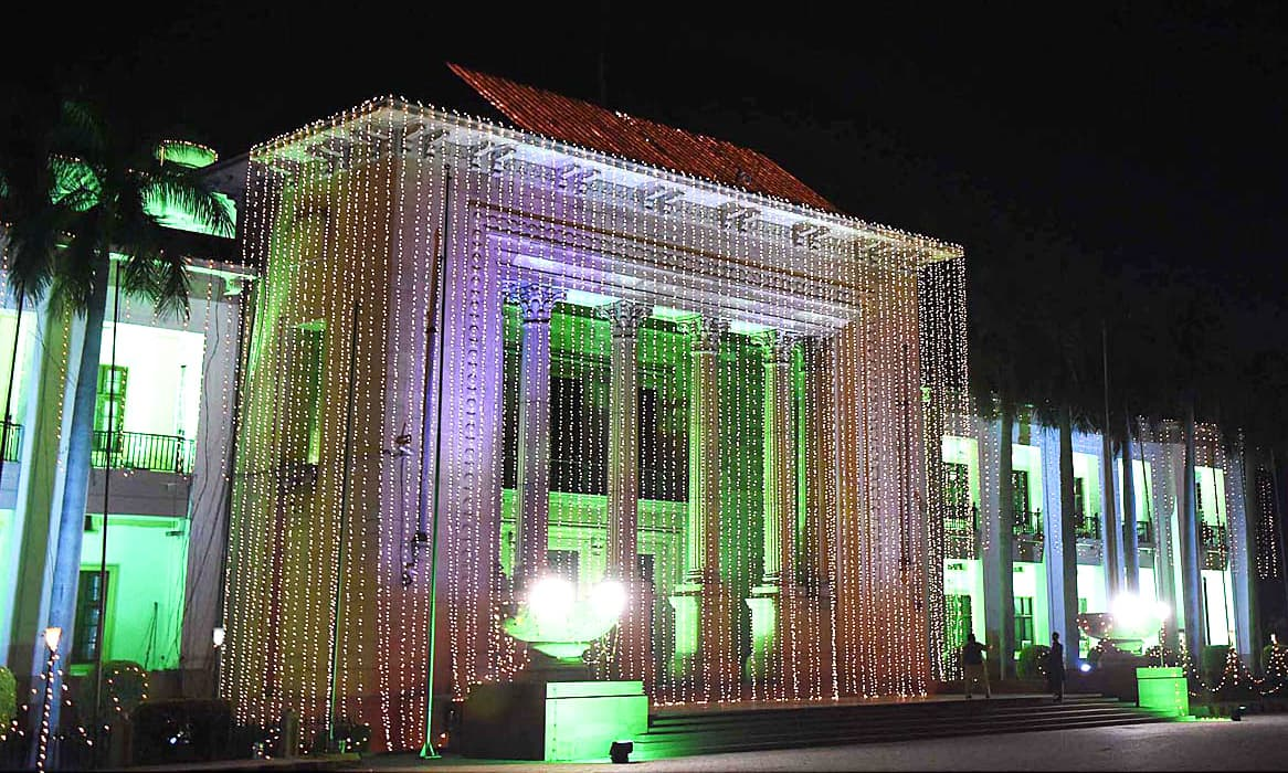 An illuminated view of Punjab Assembly building in Lahore. —APP