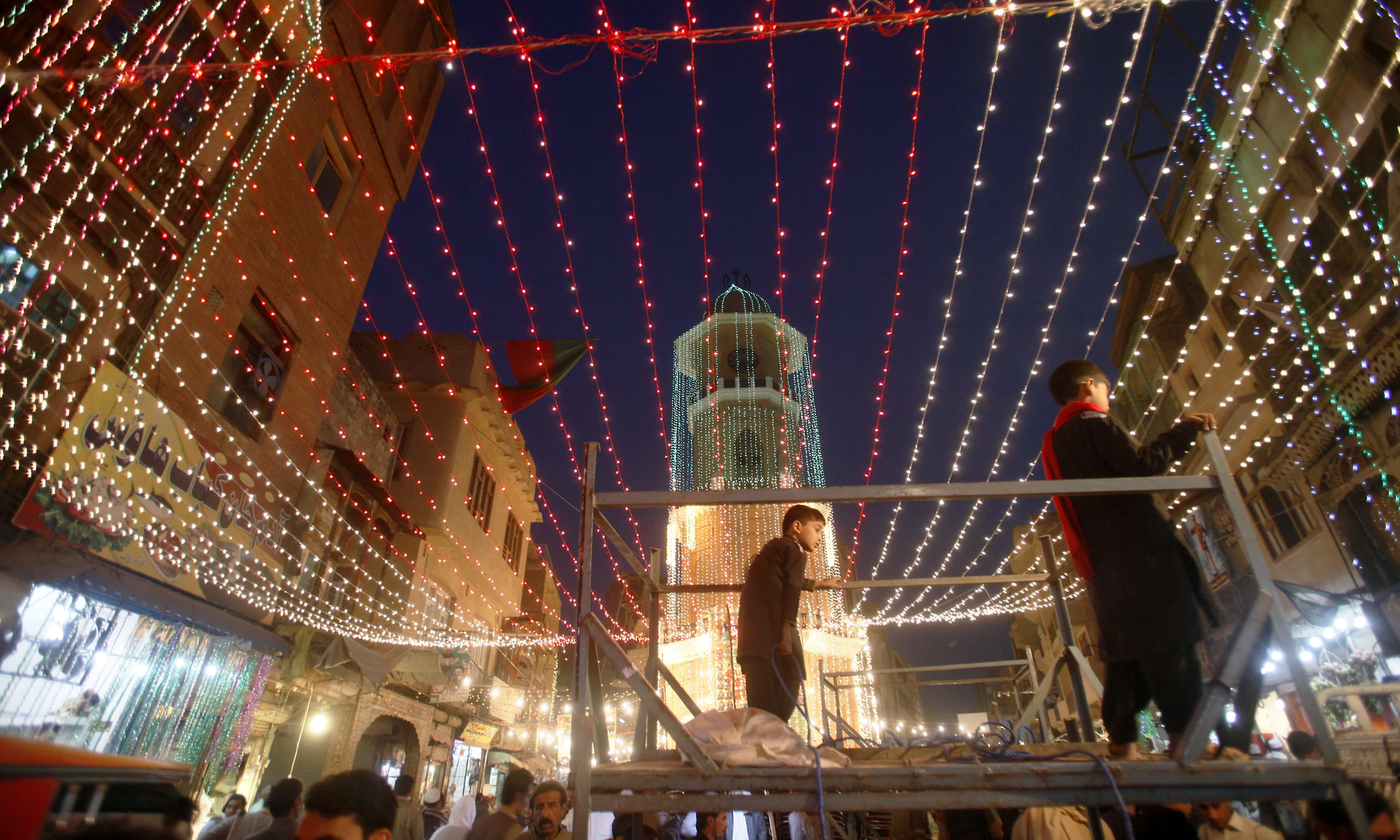 Markets are decorated with lights as part of the celebrations. —AFP