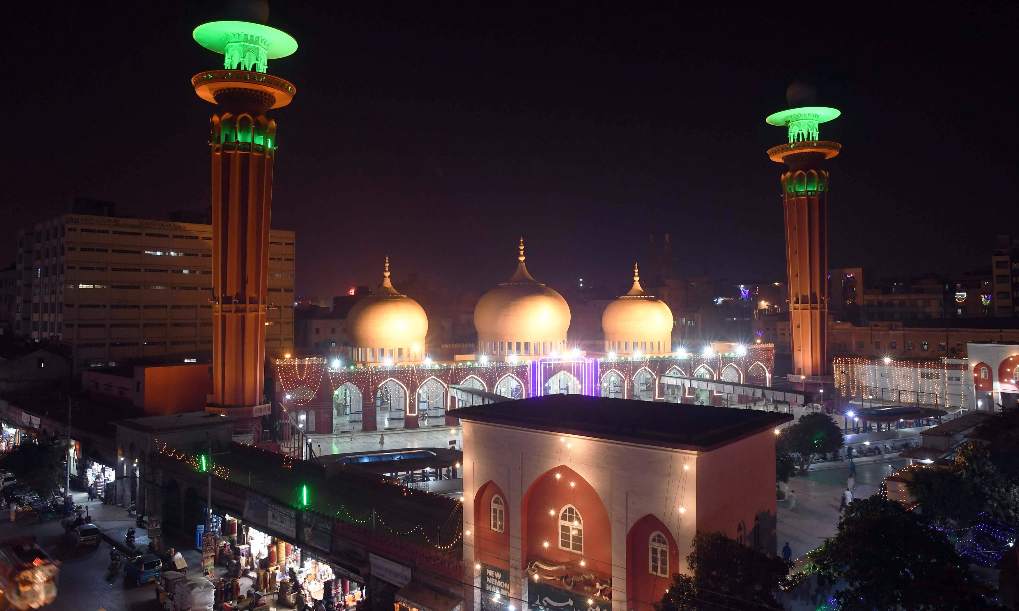 A general view shows an illuminated mosque as part of festivities ahead of Eid-i-Miladun Nabi in Karachi. —AFP