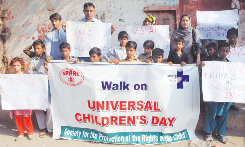 STUDENTS hold a demonstration outside the HPC to mark the Universal Children's Day on Tuesday.—PPI