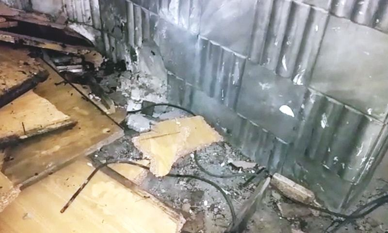 Damage caused at the site of the explosion. — DawnNewsTV