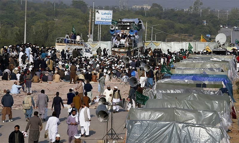 A case on TLP's infamous Faizabad sit-in from 2017 is being heard in the apex court. — AP