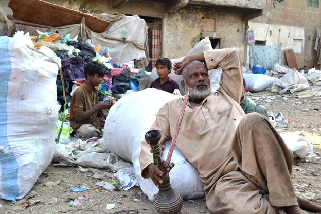 Zameer has lived in Mujahid Colony for the past 50 years and recycles plastic.