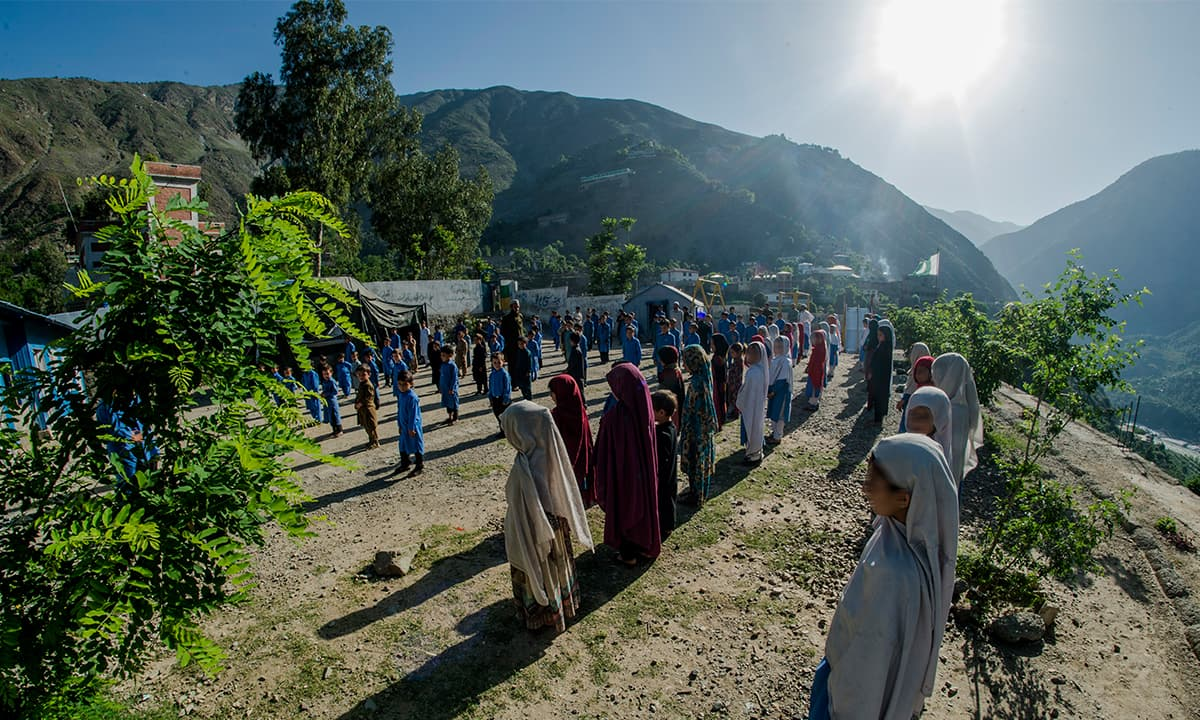 Students during the assembly at the Government Primary School Jijal, South Kohistan. Students often faint during the session due to dehydration