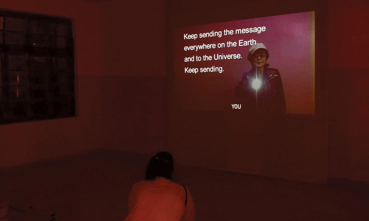 Yoko Ono's 2004 video, ONOCHORD, playing at the  Karachi Biennale 2017 | Courtesy Karachi Biennale Trust