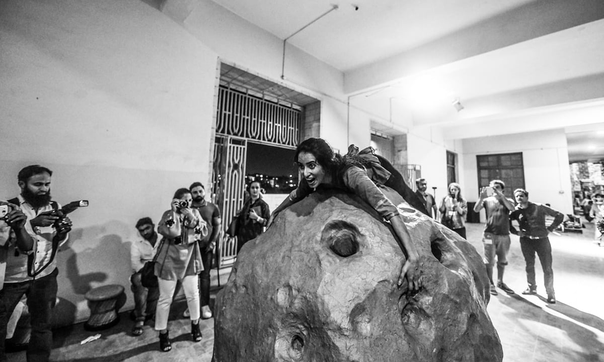 Erum Bashir performing The Think by Bankleer, a Berlin-based artist duo,  at the Karachi Biennale 2017 | Courtesy Karachi Biennale Trust