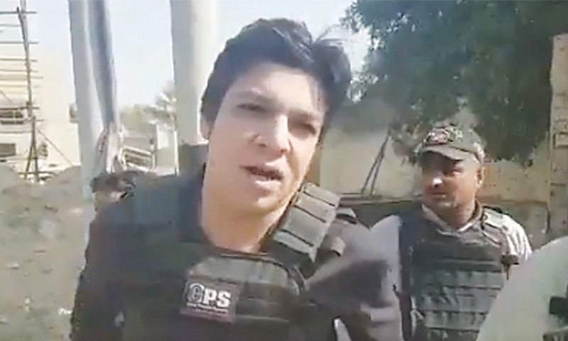 Minister for Water Resources Faisal Vawda showed up at the site in a bulletproof vest and armed with a gun.—Twitter