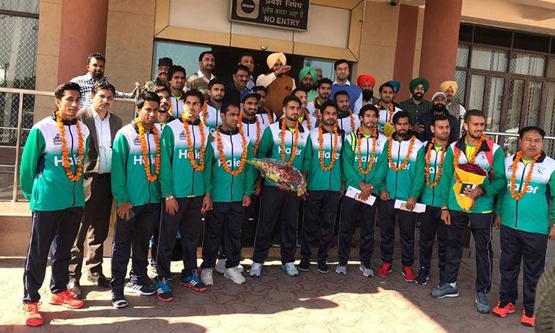 پاکستان ہاکی ٹیم بھارت میں موجود — فوٹو بشکریہ عبدالغفار ٹوئٹر اکاؤنٹ