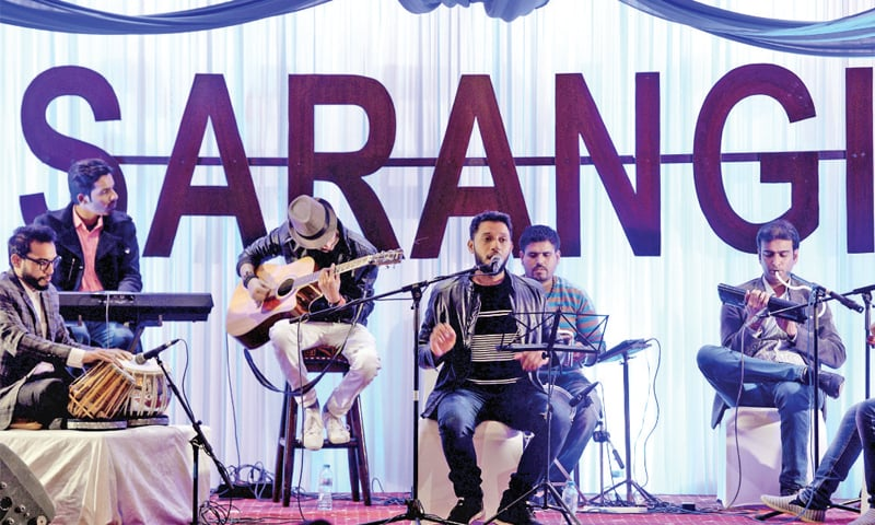 Musician Sajjad Haider performs at a musical evening on Friday night. He was accompanied by Zeeshan Saleem on the tabla, Ihtsham Saleem on the violin, Ali Haider on keyboard, Azeem Amar on drums, Wahab Kamran on the Pipe Organ and Hafeez Nizami on guitar. — White Star