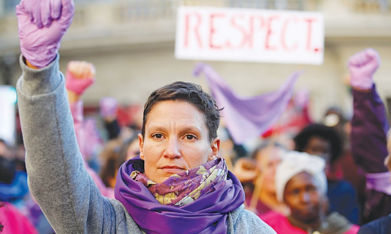 Marseille (France): Demonstrators attend a rally against gender-based and sexual violence against women on Saturday.—Reuters