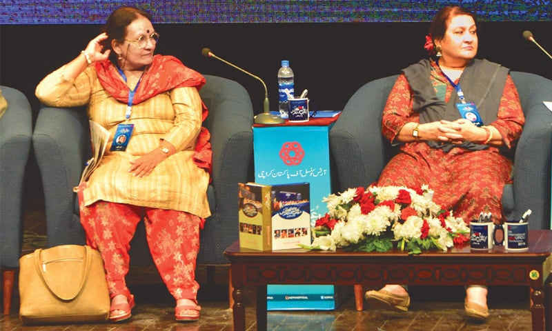 Nadira and Noor Zaheer speak at the conference on Sunday. —Faysal Mujeeb/White Star