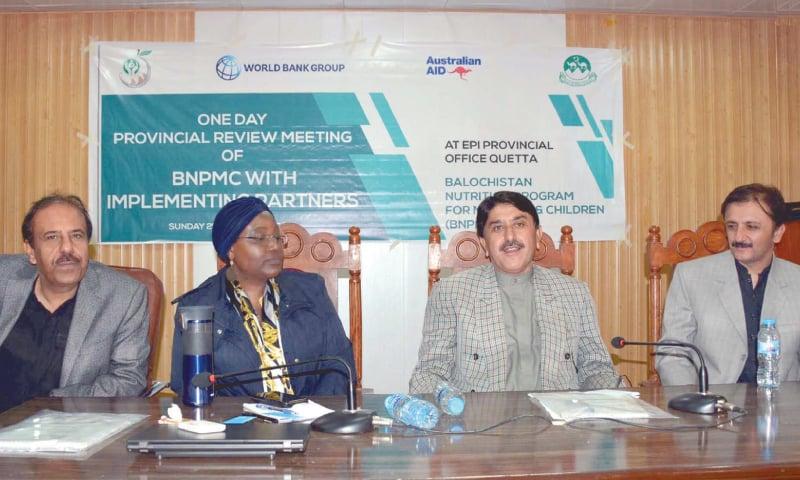 QUETTA: Balochistan Health Minister Mir Naseebullah Khan Marri speaks at the meeting.— INP