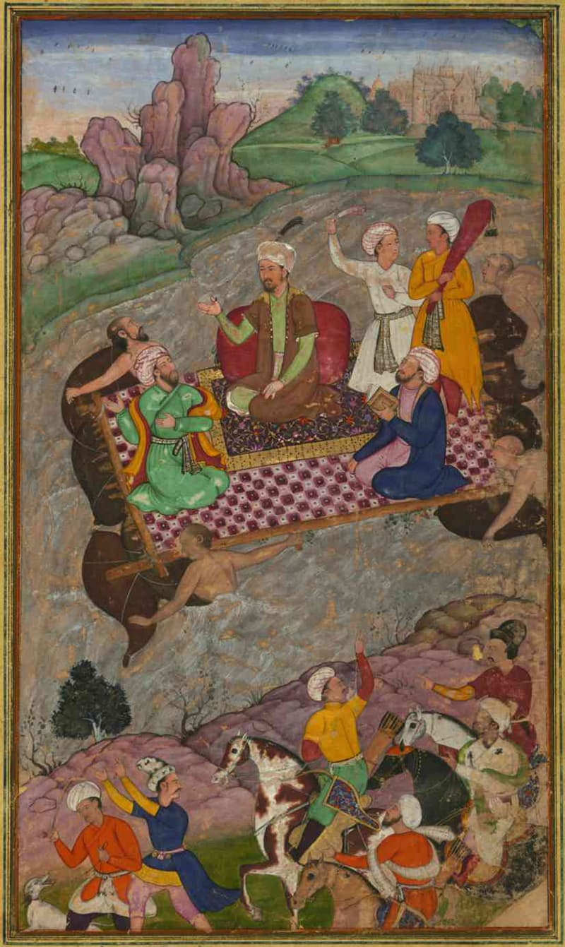 Babur, during his second Hindustan campaign, riding a raft from Kunar back to Atar.