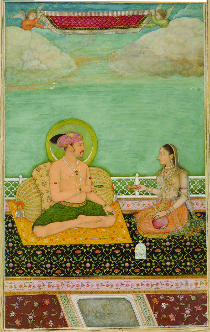 Jahangir in a loincloth, c. 1620, accompanied by his consort, most likely Nur Jahan