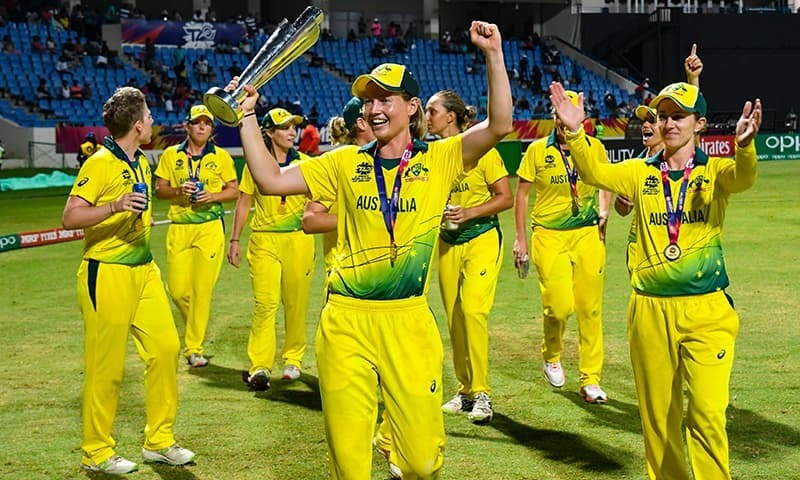 Australia's players celebrate winning the ICC Women's World T20 final cricket match against England at Sir Vivian Richards Cricket Ground, North Sound, Antigua and Barbuda on November 25. — AFP/File photo