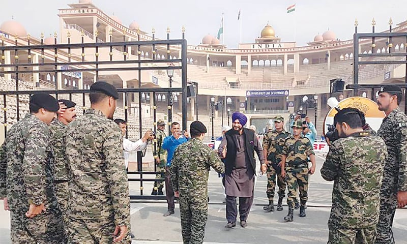 Former Indian cricket star Navjot Singh Sidhu arrives in Pakistan through the Wagah border on Tuesday. — INP/File