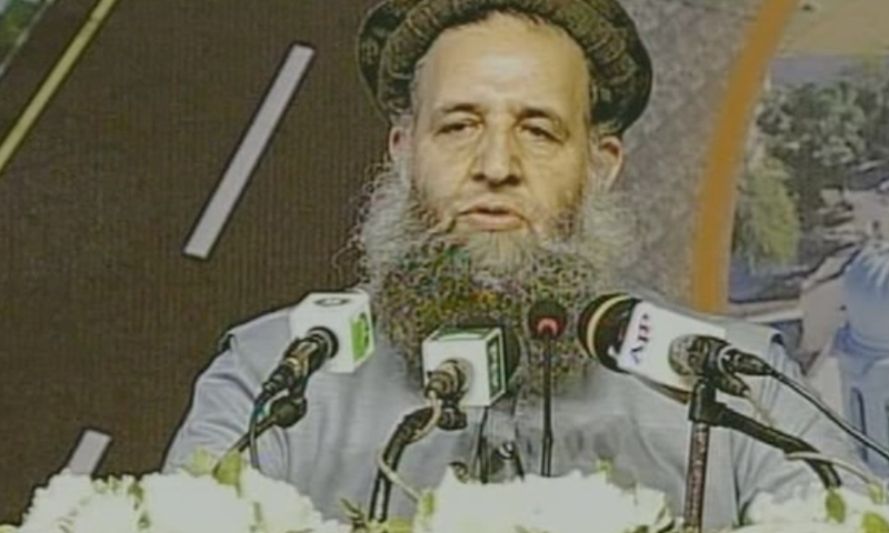 Minister for Religious Affairs Noorul Haq Qadri addresses the ceremony. ─ DawnNewsTV