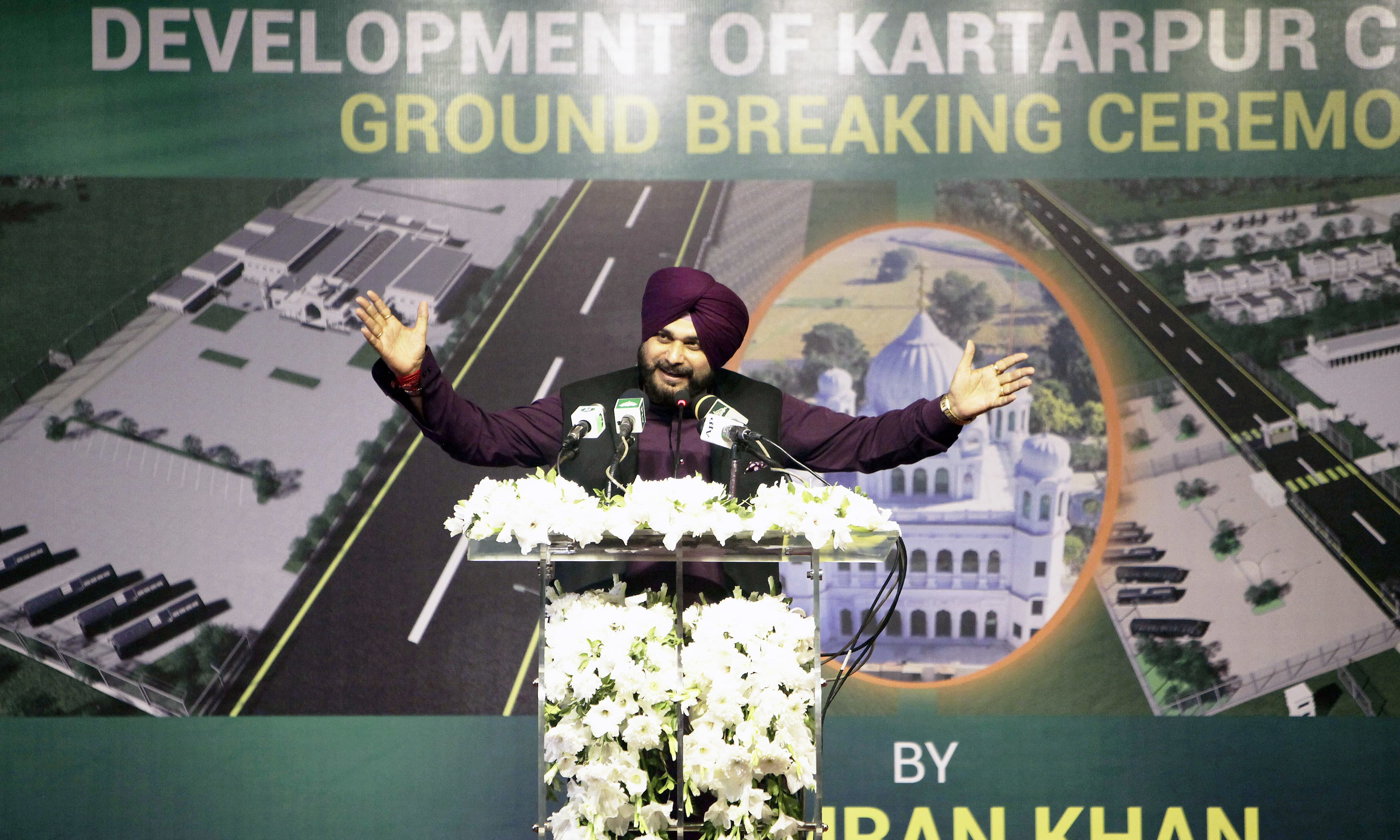 Punjab Minister of Local Government Singh Sidhu addresses the Kartarpur corridor groundbreaking ceremony. ─AP