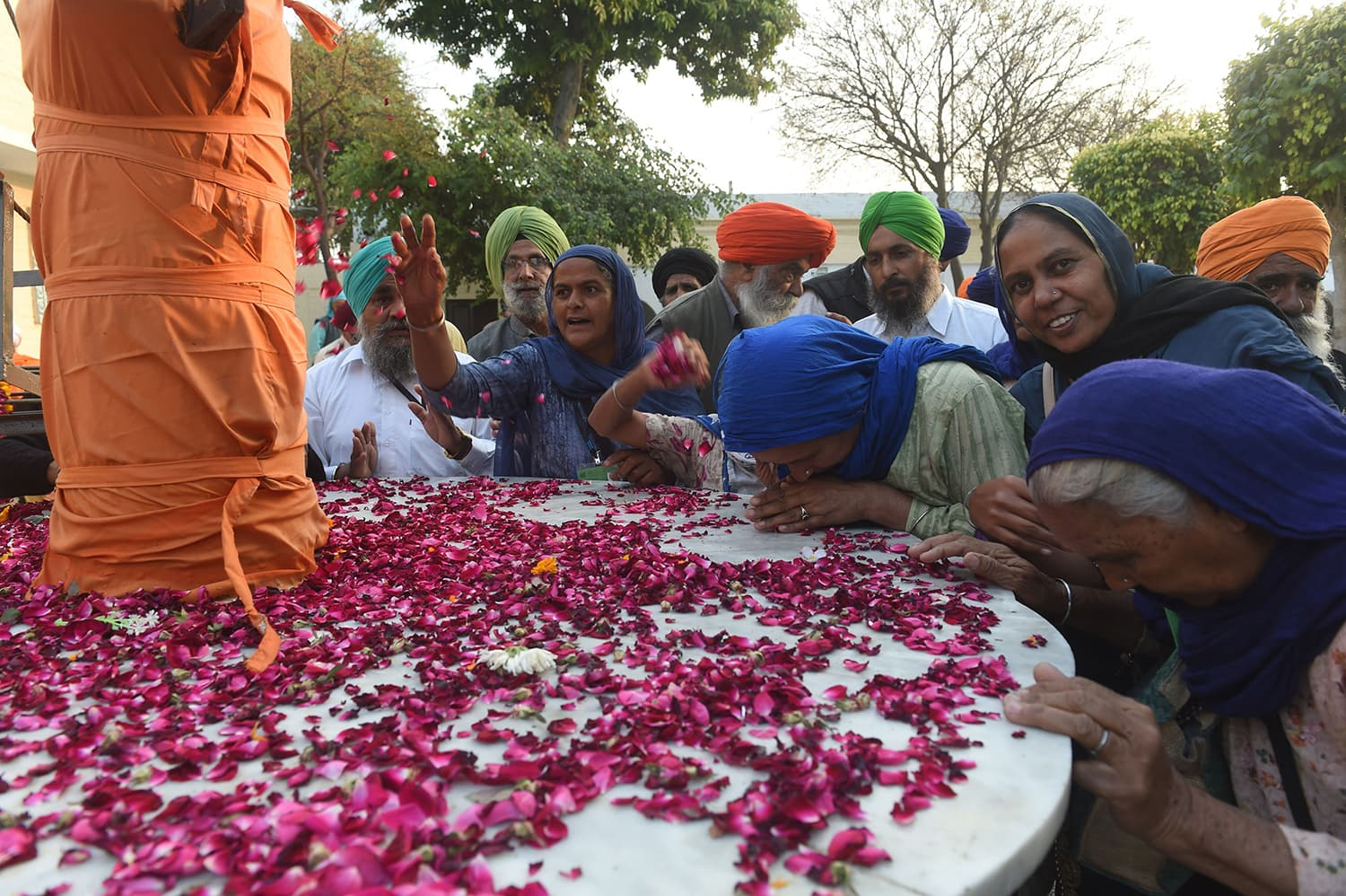 Sikh Pilgrims gather in the Kartarpur Gurdwara Sahib after the groundbreaking ceremony.— AFP
