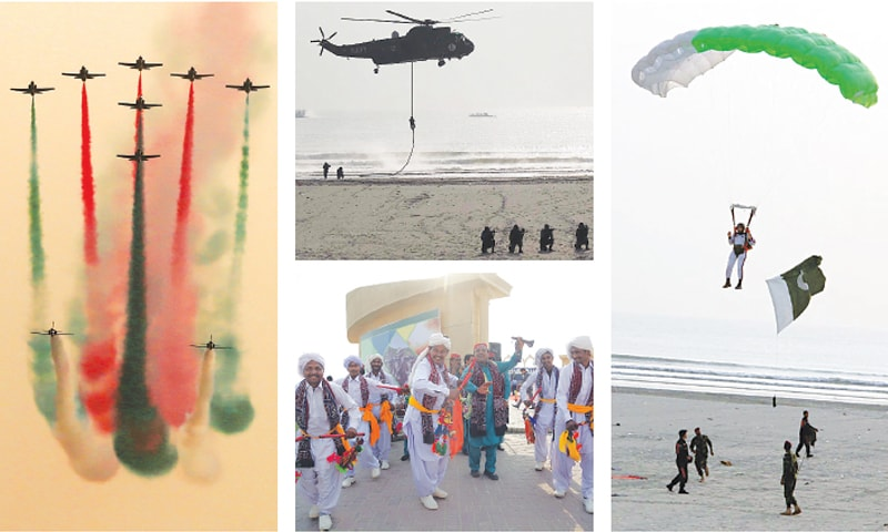 KARACHI: (clockwise) A Pakistan Air Force aerobatic team presents a scintillating display during an air show at Nishan-i-Pakistan at Sea View on Thursday. Special Service Group commandos rappelling down from a Pakistan Navy helicopter during a counterterrorism demonstration. A paratrooper demonstrates free-fall para jump during an exercise. Sindhi folk musicians perform at the venue.—Photos by White Star/Agencies