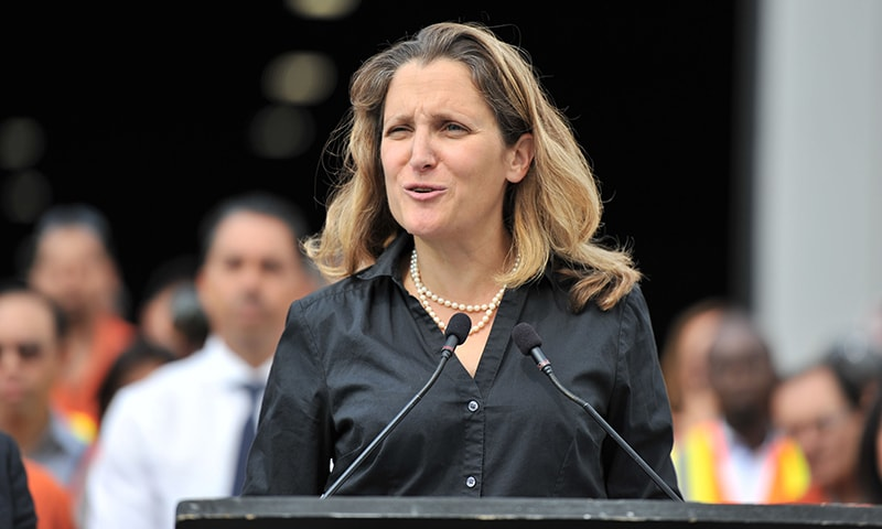 In this file photo taken on August 24, 2018, Canada's Minister of Foreign Affairs Chrystia Freeland speaks at the Tree Island Steel Company, in Richmond, British Columbia. — AFP