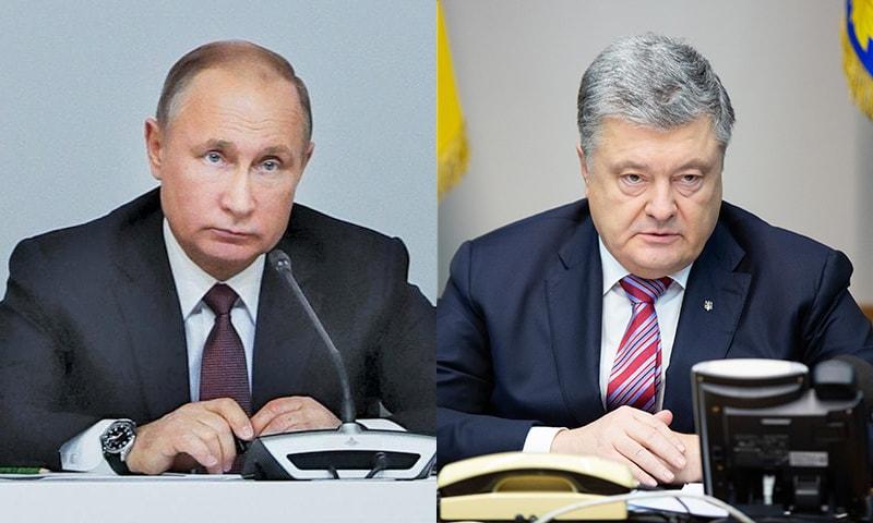 Ukrainian President Petro Poroshenko (R) and Russian President Vladimir Putin.