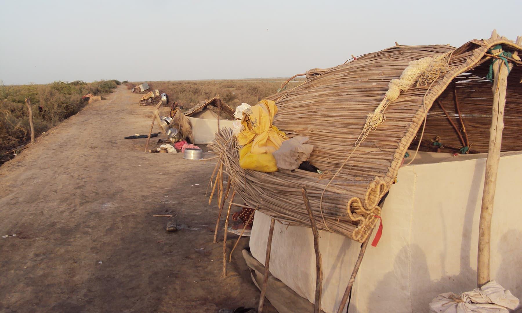 جھیل کے قریب مائی ہاجو اور دیگر مچھیروں کے گھر—تصویر ابوبکر شیخ