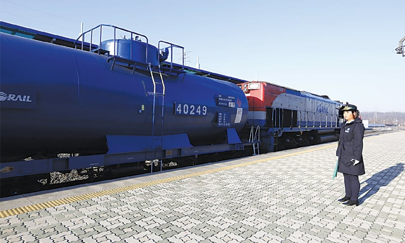 PAJU (South Korea): A train is pictured at a station here on Friday, before it crossed over into North Korea.—AP