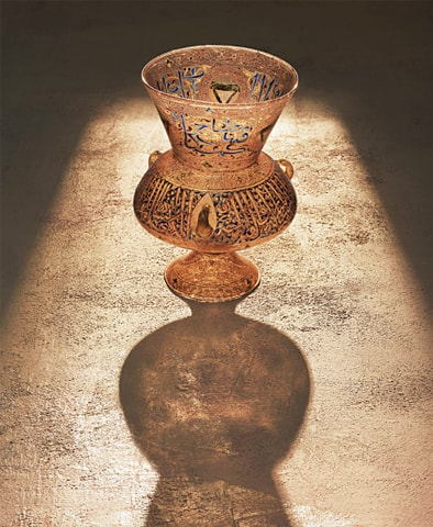 Mosque lamp with verse of light from the Quran and titles of person commissioning lamp (1322- 1328)