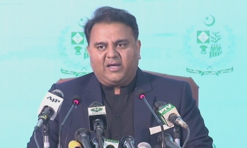 Information minister Fawad Chaudhry addresses a press conference on Saturday. — DawnNewsTV