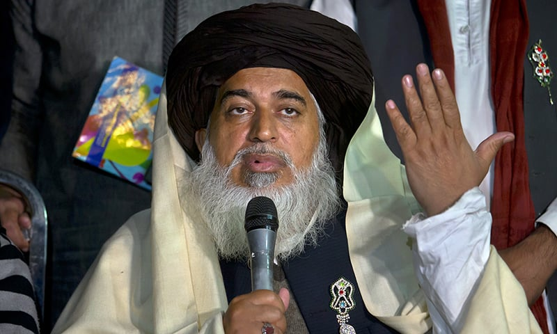 TLP chief Khadim Hussain Rizvi was taken into protective custody last week in Lahore. — AP/File