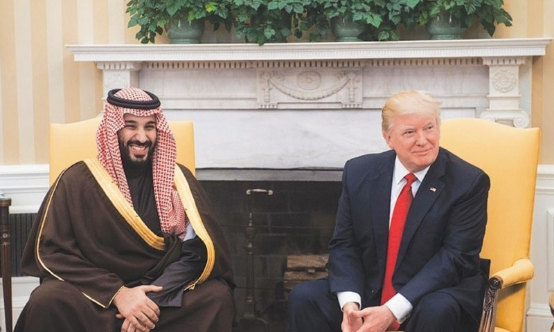 Saudi Crown Prince Mohammad bin Salman (L) and US President Donald Trump (R) are seen at the White House.—Dawn file photo