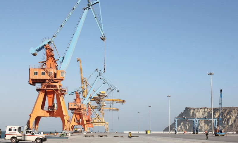 Gantry cranes lined up on Gwadar port. Construction of the Gwadar Free Zone, where industry is supposed to be located, has shown very little forward movement thus far.—File photo